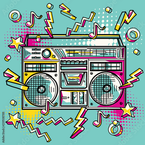 Plakaty Instrumenty Muzyczne   funky-colorful-drawn-boom-box