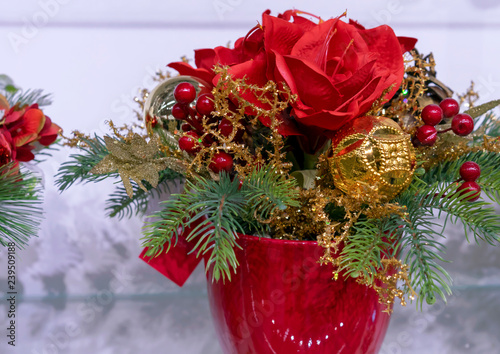 Fotografie, Obraz  Christmas composition with flowers, berries and decorations.
