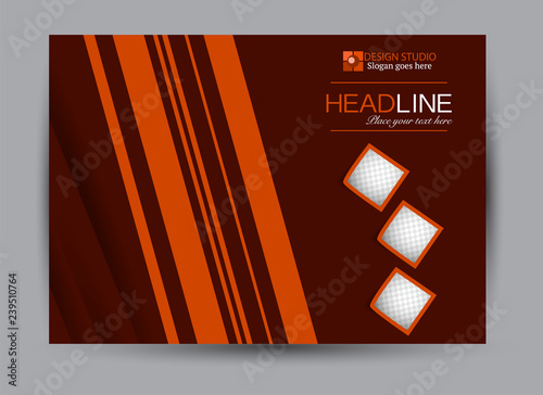 Cadres-photo bureau Marron Flyer, brochure, billboard template design landscape orientation for business, education, school, presentation, website. Red and orange color. Editable vector illustration.