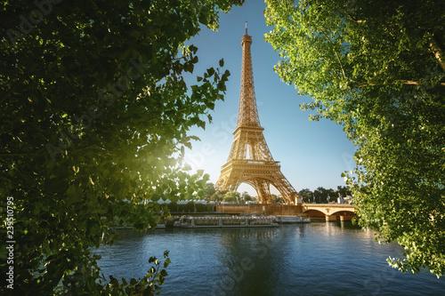 Poster Tour Eiffel Seine in Paris with Eiffel tower