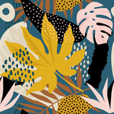 Trendy seamless exotic pattern with tropical plants and animal prints. Vector illustration. Modern abstract design for paper, wallpaper, cover, fabric, Interior decor and other users - 239510971