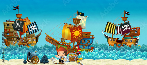 Valokuva  Cartoon scene of beach near the sea or ocean - pirate captain on the shore and t