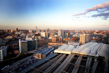 Aerial View Of Leeds City Centre With Main Train Station Ready For Stage Two Of The HS2 Project