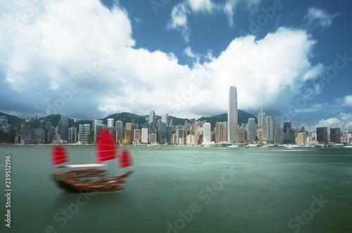 Foto op Aluminium Aziatische Plekken Hong Kong harbour, long exposition