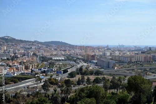 Foto op Aluminium panoramic city view from park in Malaga, Conception garden, jardin la concepcion in Malaga, Spain, botanical garden