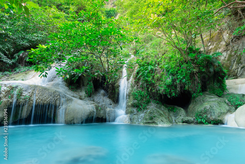 Photo Stands Dark grey Erawan Waterfall in Kanchanaburi, Thailand