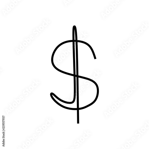Fototapeta Dollar single one line art drawing vector illustration. obraz