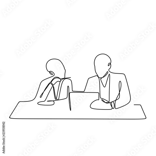 Fotografie, Obraz  one line drawing vector of discussion work of two person in the office