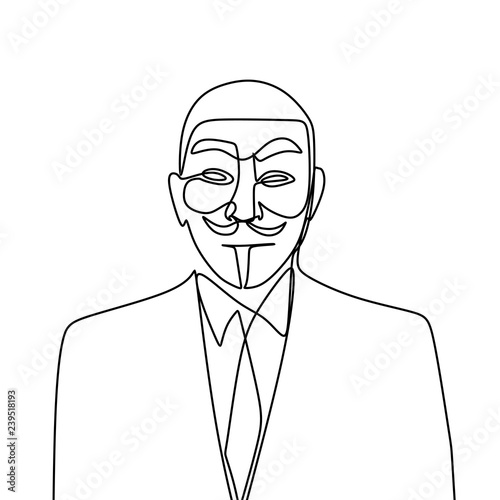 Hacker One line drawing of anonymous face character