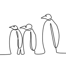 One Line Drawing Of Three Peng...