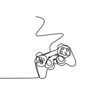 A Game Stick One Line Drawing ...