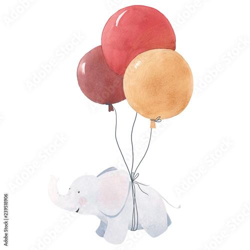 Fototapeta premium Ilustracja słoniątka akwarela