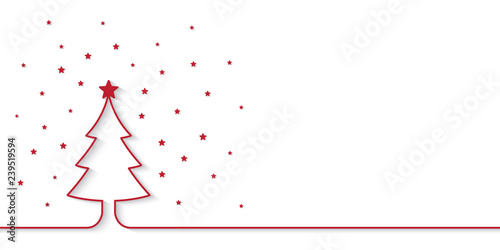 Photo  Christmas banner with red one line style outline christmas tree and little star pieces