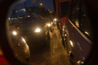 evening dense traffic of cars in the city in the winter in a small blur