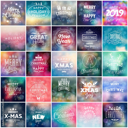 Christmas Stamps 2019.Different Color Square Christmas 2019 Template Stamps And