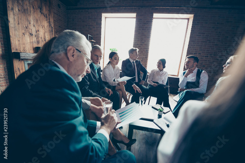 Obraz na plátně  Elegant classy chic stylish professional business people sharks directors sittin