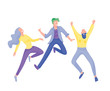 Jumping character in various poses. Group of young joyful laughing people jumping with raised hands. Happy positive young men and women