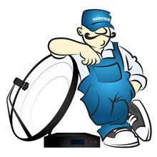 Worker In Uniform Installing Satellite Antenna Vector