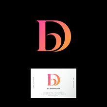 D And B Letters. D, B Monogram Consist Of Orange Letters. Web, UI Icon. Identity. Business Card.