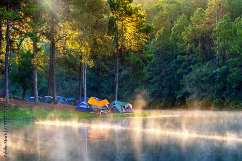 Printed kitchen splashbacks Reflection Beautiful morning at Pang Ung lake, Pang Ung Mae Hong Son province in Thailand.