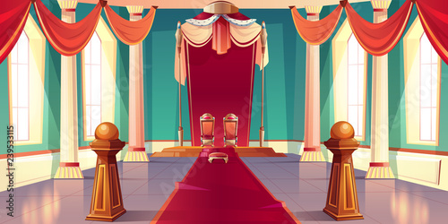 Leinwand Poster Medieval castle or royal palace spacious, sunny throne room or ballroom empty in