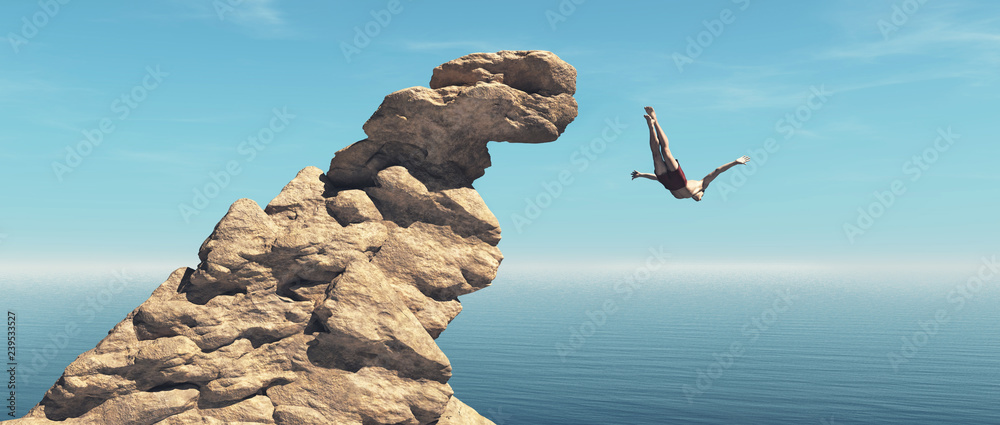Fototapety, obrazy: Man jumps into the ocean from a cliff.