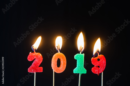Happy New Year 2019 With Sparkler Colorful Glitter Candles Number Burning Shine In Black Background Countdown From End Of And Celebration Day Welcome