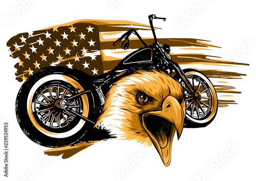 motorcycle with the head eagle and american flag