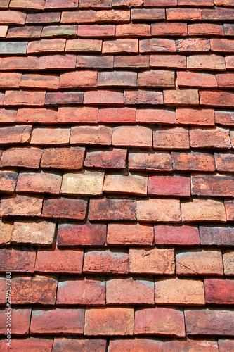 Obraz Clay tiles on a centuries old roof in southern England - fototapety do salonu