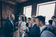 canvas print picture - Interesting people career collar collaboration concept. Photo of large big crowd many happy smiling people telling about startup to personnel staff chief boss ceo mentor at conference break