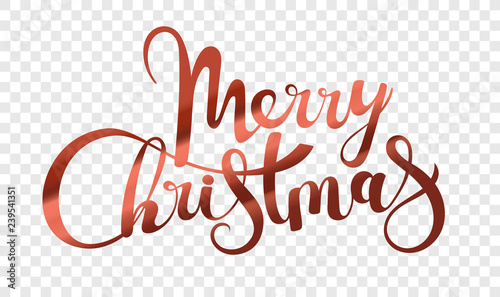 Fotomural Merry Christmas logo isolated on transparent background