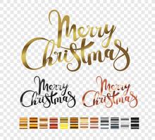 Merry Christmas Metallic Logo Set Isolated On Transparent Background. Xmas Holiday