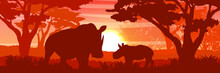 Silhouette. A Large African Rhino And Her Cub In A Savannah Bush. Wild Animals Of Africa. Realistic Vector Landscape . Big Five