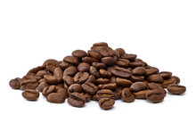 Roasted Coffee Beans Heap Or Pile Isolated On White Background