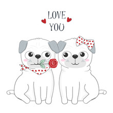 Cute Dog Couple And Rose, Happy Valentines Day Greeting Card