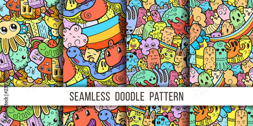 fototapeta na lodówkę Collection of funny doodle monsters seamless pattern for prints, designs and coloring books