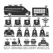 Autonomous Delivery Robot Car And Drone Vector Shape Icon Set. Future Driverless Van Ant Truck Vehicle For Packages And Food Transportation.