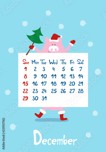 d3e3f1f122fc Cute cartoon pink pig the symbol of chinese year 2019. Calendar graphic  design blue color page of winter month december in new ...