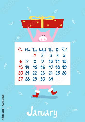 c62578b56d01 Cute cartoon pink pig the symbol of chinese year 2019. Calendar graphic  design blue color page of winter month january in new year.