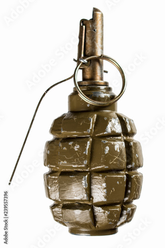 F1 grenade on a white background - Buy this stock photo and explore