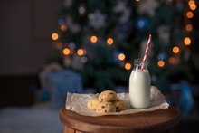 Christmas Cookies With Milk For Santa Claus