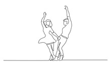 Couple Woman And Man Dancing Continuous Line