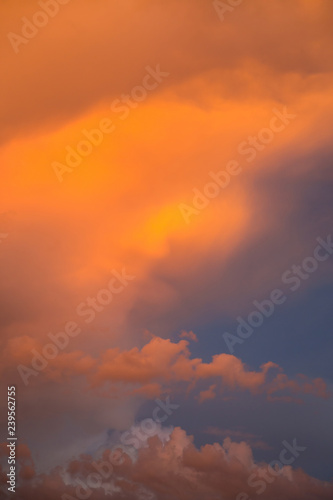 Fototapety, obrazy: Dramatic clouds at colourful moody sunset