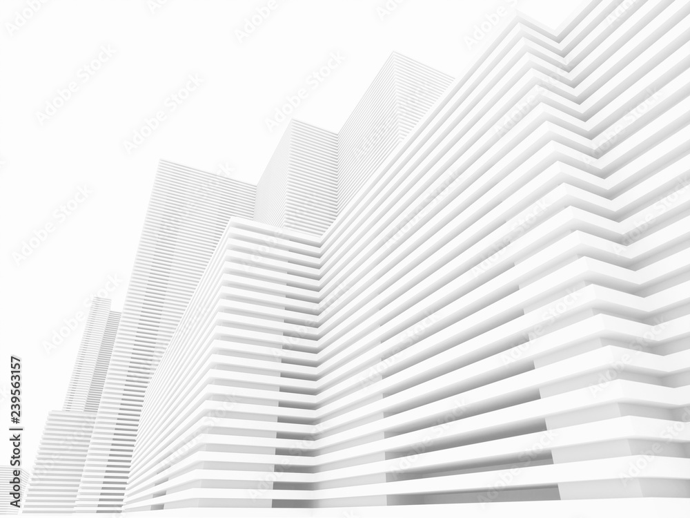 Fototapety, obrazy: White minimalistic abstract city background 3D illustration