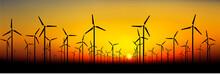 Wind Power Turbine Silhouettes...