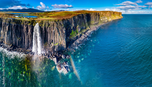 Aerial view of the dramatic coastline at the cliffs by Staffin with the famous Kilt Rock waterfall - Isle of Skye - Scotland