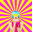 canvas print picture - Minimal collage art.  Colorful Lady on the geometric background. Spring is coming