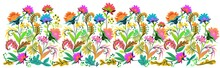 Hand Drawn Botanical Floral Border In Folk Art Style Wide Seamless Repeating Pattern Banner Header Wallpaper