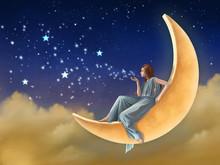 Girl Sitting On The Moon