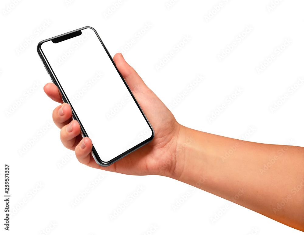 Fototapeta Woman hand holding the black smartphone with blank screen isolated on white